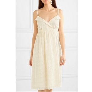 NWOT Madewell ivory embroidered pleat wrap dress S